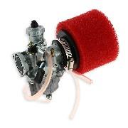 * Carburateur dirt bike Mikuni de 26mm + filtre Rouge
