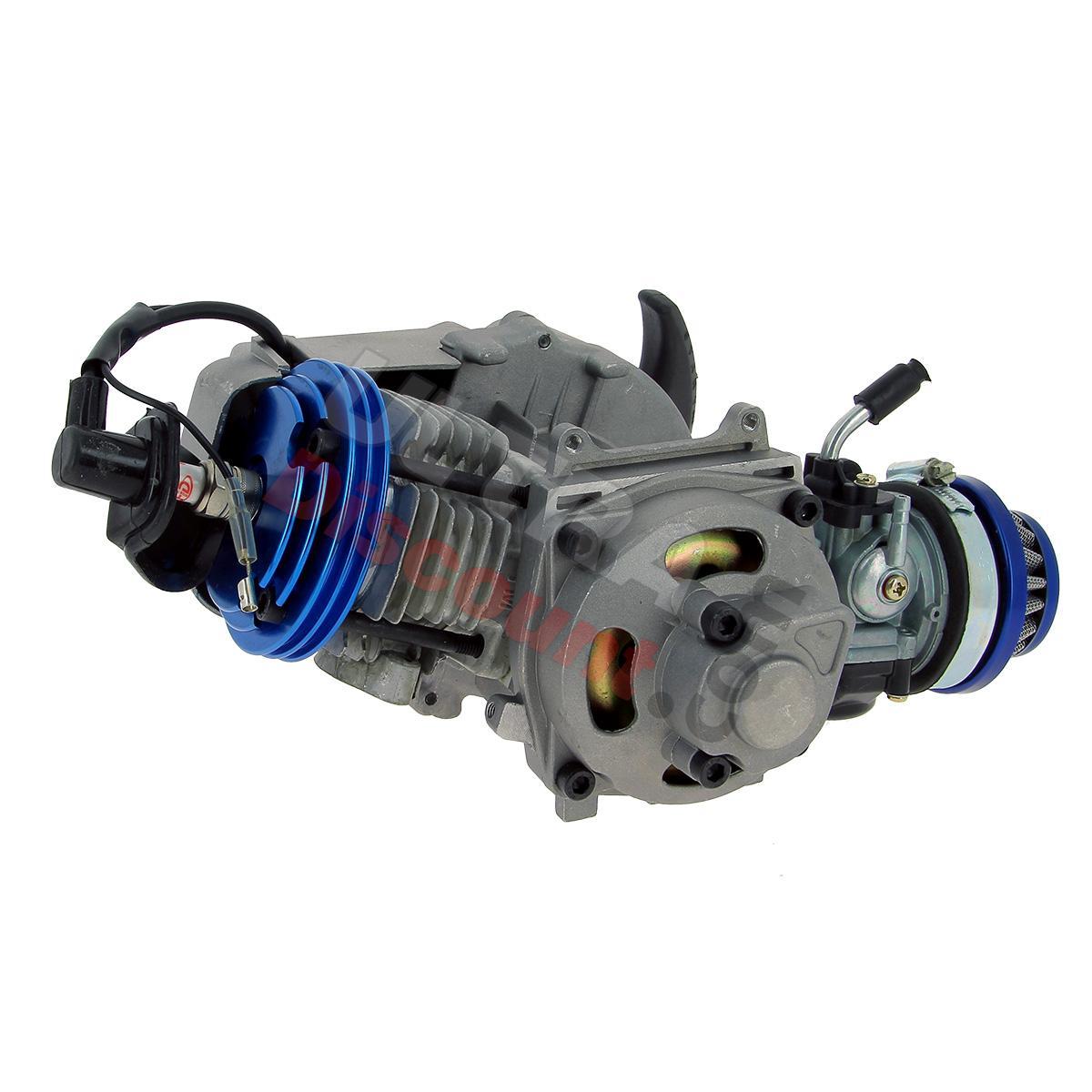 moteur complet bleu ud racing 53cc pour pocket quad pieces pocket quad moteurs ultra. Black Bedroom Furniture Sets. Home Design Ideas