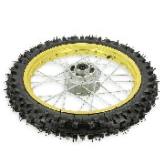 Roue Avant 14'' Or pour Dirt Bike AGB27 (Crampons 10mm)