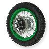 * Roue Arrière Complète 12'' Verte pour Dirt Bike AGB27